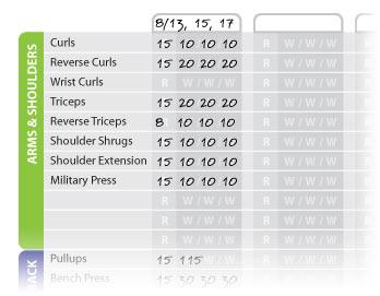 weight training sheet